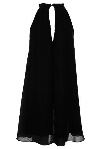 SAPHIR Femmes Diamant Collier Cou plissé doublé Haut Mousseline femmes Robe Soirée 8-14 Noir