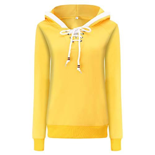 LILIGOD Damen Beiläufige Sweatshirt Kapuzenpullover mit Tunnelzug Patchwork Pullover mit Kapuze Langarm Warme Hoodie Streetwear Einfarbig O-Ausschnitt Wild Pullover Blusen Outwear (70's Funk Kostüm)