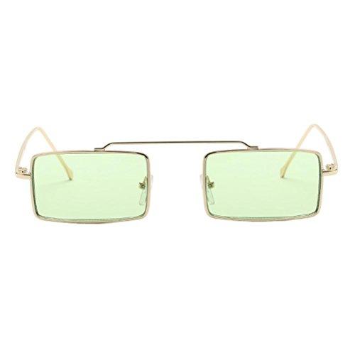 Trada Mode Brille, Frauen Herren Unisex Quadratischen Rahmen Shades Sonnenbrille Integrierte UV-Brille Platz Sonnenbrille Beliebte Metallrahmen Spiegel Brille Freizeit Sportbrillen (Grün)