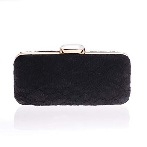Nalkusxi Mode Spitze Clutch Geldbörse Party Abend Handtasche Bankett Tasche Schulter Crossbody (Color : Black)
