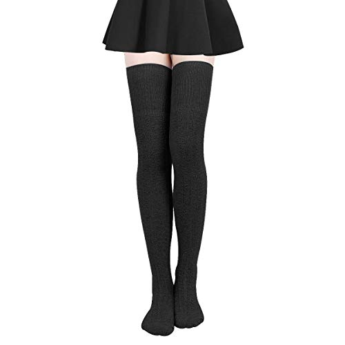 Damen Kniestrümpfe - Overknee Strümpfe Streifen Lange Socken Retro Knitting Strümpfe Mädchen Cheerleader Sportsocken Baumwollstrümpfe (SchwarzC), Schwarzc, Durchschnittlicher Code