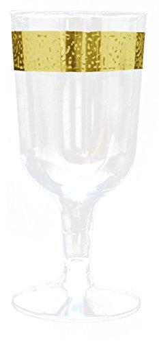 uxe Kunststoff Einwegteller -einweggeschirr - Weiß mit Gold Spitzenrand -Inspiration Collection Gold (Sektglas-Sektkelch 180 ml) (Weiß Und Gold-kunststoff-platten)