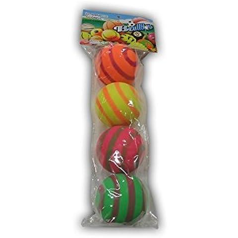 4 pequeño Bolas de goma / Pelotas de playa / Bolas de juego en colorido Colores neon en Set con Patrón con círculos