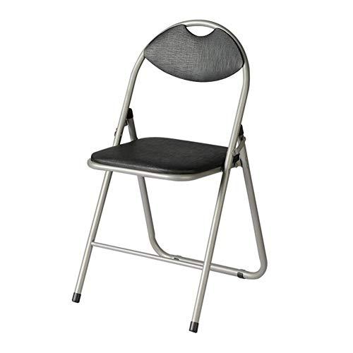 QIDI Chaise Pliante, Chaise d'ordinateur, Chaise de Salle à Manger, Chaises Pliantes, Acier au Carbone, Cuir de Similicuir, Tissu, Simple Moderne Facile à Transporter (Couleur : Noir)