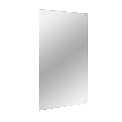 Maison & White Espejo rectangular sin marco: incluye gancho cromado para colgar fijaciones, agujeros preperforados, montaje en pared, sin marco, rectangular, espejo de baño M&W 450 x 300 mm