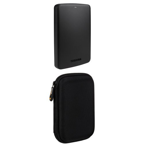 "Pack de Toshiba Canvio Basics - Disco duro externo de 1 TB (USB 3.0, 2.5""), negro con Funda AmazonBasics"