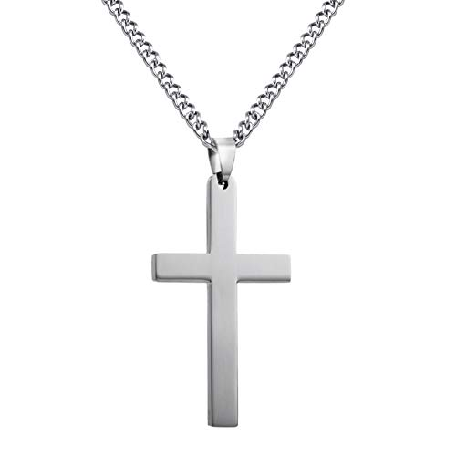 WLZP Collar Colgante de Cruz de Acero Inoxidable 316L con Cadena de Plata de 60cm para Hombres Mujeres, Plata/Oro/Negro