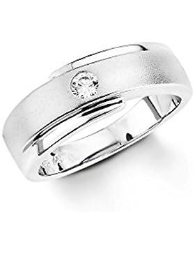 Amor Damen-Ring 925 Sterling Silber rhodiniert teilmattiert Zirkonia weiß