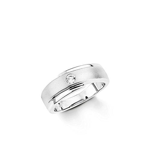 Amor Damen-Ring 925 Sterling Silber rhodiniert teilmattiert Zirkonia weiß 106443