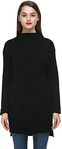 Vogueearth Fashion Hot Femme's Longue Manche Thick Knit Jumper Longue Sweater Chandail Tricots Pullover Top Rose