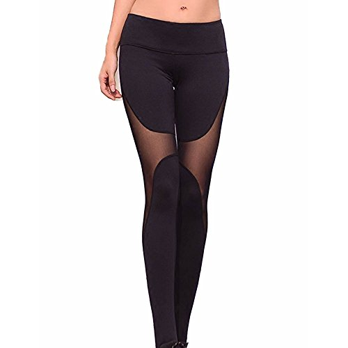 Leggings Damen Sport Hose Yoga Leggins Laufhose Outdoorhose Tights Fitnesshose Pants Jogginghose Trainingshose Mesh Strumpfhose Schwarzes Netz M Meedot