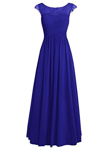 Dresstells Damen Bodenlang Chiffon Promi-Kleider Brautjungfernkleider Abendkleider Royalblau