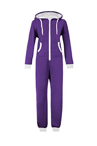wotogold Damen 1 Pyjamas Sportbekleidung Kapuzenpullover Jumpsuit Weiß Reißverschluss 1 X-Large Lila