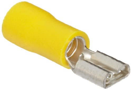 Morris Products 10331 Female Disconnect, Vinyl Insulated, Yellow, 12-10 Wire Size, 0.032X0.187 NEMA Tab (Pack of 100) by Morris Products