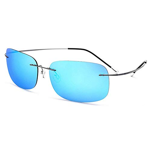 Titanium Driver Driving Sonnenbrillen Herren Ultra Light Frameless Polarizer Female UV400 Schutz Screwless Square Sonnenbrillen Brille (Farbe : Blue)