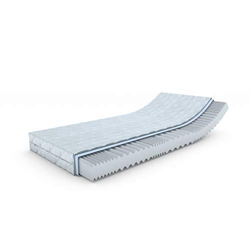 """MSS® \""""Revasana Premium 7 Zonen Matratze - H4-200x90 cm orthopädische / 7 Zonen Wellen Schaumstoff mit versteppten Klimafaserbezug Standard 100 by Oeko-TEX® geprüft / H4"""