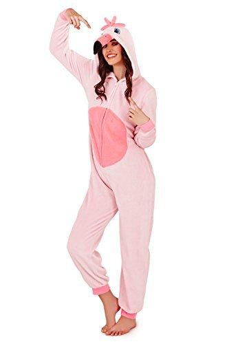 Pigiama intero in pile da donna con cappuccio Pink - 3D Flamingo Large