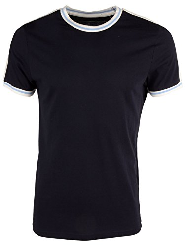 Brave Soul 'Kailash' Herren Einfarbig Retro Fußball Trikot Rundhalsausschnitt T-Shirt Dunkel Blau-Himmelblau