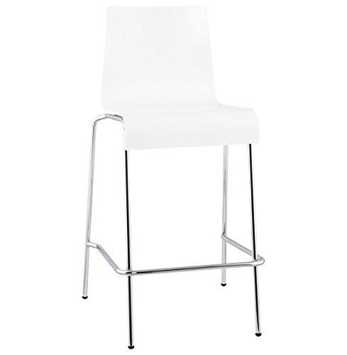 Quai 56 KWA - Tabouret snack mi-hauteur en bois peint - Hauteur d'assise 65cm - 2 couleurs au choix : Blanc Noir (1, Blanc)