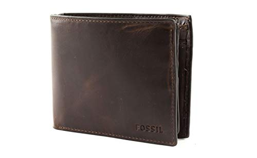 Fossil Derrick Large Coin Pocket Bifold Gift Set RFID Dark Brown