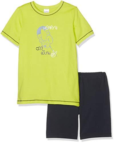 Schiesser Jungen Rat Henry Kn Anzug kurz Zweiteiliger Schlafanzug, Grün (Lime 710), Herstellergröße: 128