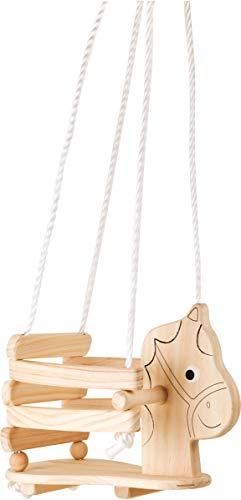 'Niños Columpio Caballo de Madera Estable, con Borde Elevado y Asas para autónomo de Juguete para Sentarse, para Interior y Exterior, a Partir de 18Meses, soporta hasta 30kg