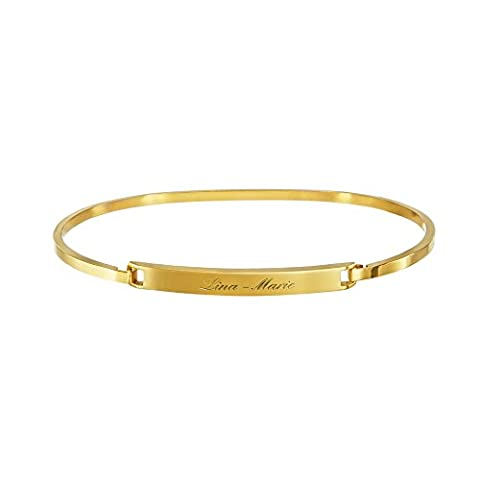 Custom Bracelet – Bangle personalised with [Name] of Your Choice – Engraved Stainless Steel in Gold – Silver – Rose Gold – Custom Jewellery Gift for Women
