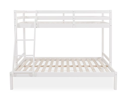 Home Detail Cabin Wooden Triple Bunk Bed Frame with Optional Mattresses (White, No Mattress)