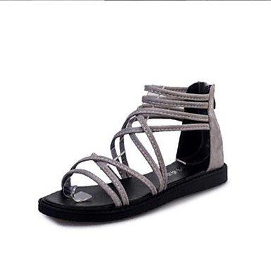 LvYuan Da donna-Sandali-Formale Casual-Comoda Anello per dita del piede-Piatto-Felpato-Nero Grigio gray