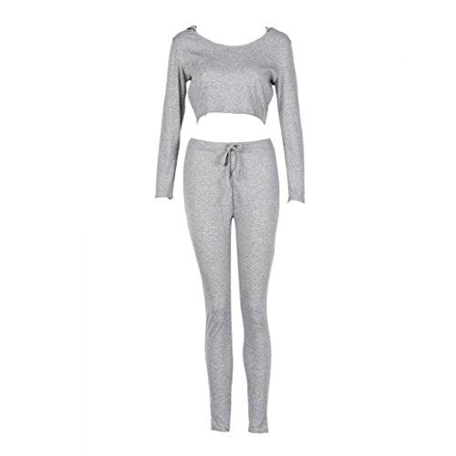 Sannysis Frauen Langarm-Anzug Sport Top + Hose Set (S, Grau) (Klassischen Anzug Taste)