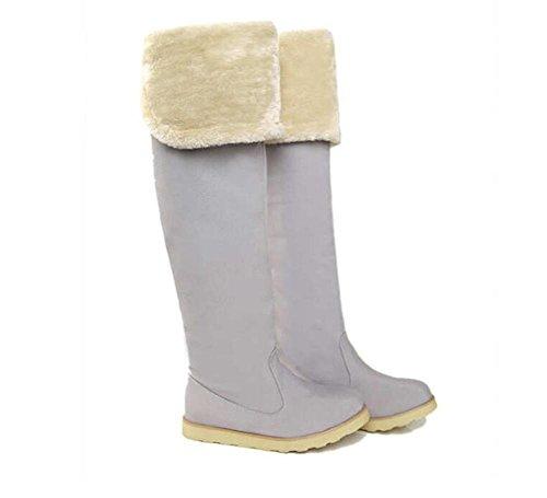delle donne Yueer stivali invernali all'aperto al ginocchio stivali alti sopra di cotone caldo più velluto scarponi da neve gray