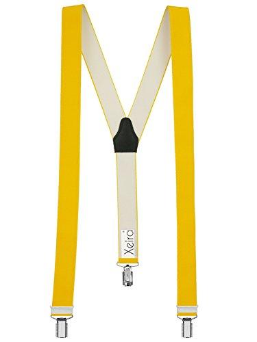 Xeira Hochwertige Hosenträger in Trendigen Uni Farben (one size, Gelb)