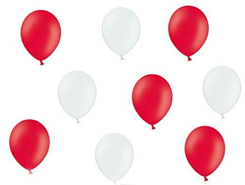 50 Premium Luftballons in Rot/Weiß - Made in EU - 100{91358563980aad1394ea5b829604a9a8412bfffa3a8e8144d5b80ca6f9621071} Naturlatex somit 100{91358563980aad1394ea5b829604a9a8412bfffa3a8e8144d5b80ca6f9621071} giftfrei und 100{91358563980aad1394ea5b829604a9a8412bfffa3a8e8144d5b80ca6f9621071} biologisch abbaubar - Geburtstag Party Hochzeit Silvester Karneval - für Helium geeignet - twist4®