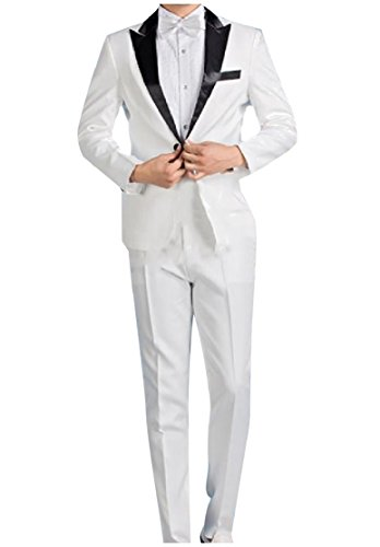 CuteRose Men Fashion Solid Colored Stage Clothes Blazer Jacket Long Pants White S
