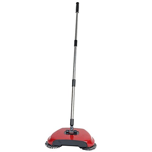 Automatisher Sweeper Besen Spin Broom 3 in 1 360 rotierende Hand Push Haushalt Workshop Fussboden Staub Kehrmaschine ohne Strom mit Schaufel Original As Seen on TV (Push-broom)