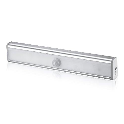 LED Nachtlichter mit Bewegungsmelder, Myguru Wireless Schrankbelecutung Nachtlicht Schranklicht 10 LED Lichtleiste Stick auf mit Infrarot Motion Sensor Tragbare Leuchten für Wandschrank Kabinett Licht mit USB Ladekabel und Magnetstreifen (Kaltweiß)