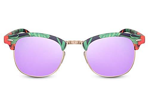 Cheapass Sonnenbrille Rechtekig UV-400 Bunt Browline Festival-Brille Plastik Damen Herren