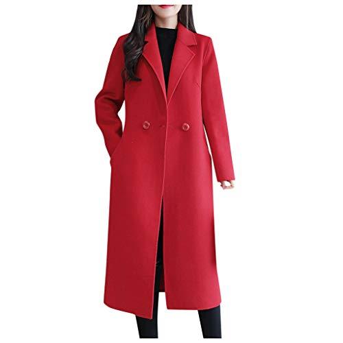 Donna Giacche Cappotto Toamen Risvolto Faux Lana Inverno Caldo Trincea Lungo Eskimo Cappotto Outwear Top Pulsante Vintage Giacca Cappotto(Rosso,XX-Large)
