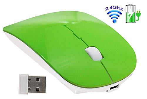 TSMINE Schlanke wiederaufladbare 2,4G Wireless Mouse kabellose optische Mäuse mit USB-Nano-Empfänger (in der Rückseite der Maus gespeichert) für Notebook, PC, Laptop, Computer-Grün - Grüne Maus
