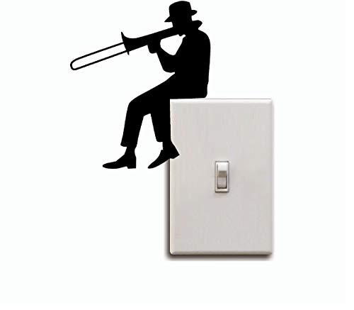 Mann Spielen Posaune Silhouette Lichtschalter Aufkleber Musik Kunst Vinyl Musik Zimmer Schlafzimmer Wohnkultur 3 stücke