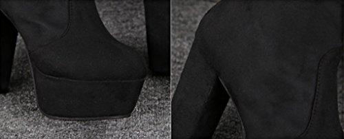 JAZS® Ruvido con stivali a tacco alto Stivali sopra il ginocchio Stovepipe Stivali elastici Autunno e Inverno Impermeabili Stivali alti tubolari neri Comodo, resistente all'usura, sexy, dolce. ( Color Nero