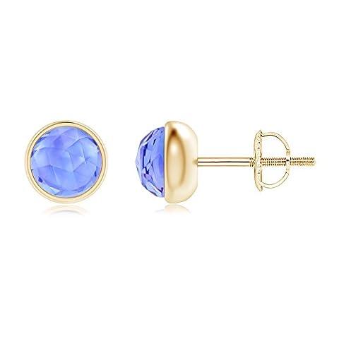 Bezel Set Tanzanite Solitaire Stud Earrings in 14K Yellow Gold (5mm Tanzanite)