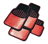 Best Car Mats - Universal Shiney Metallic Red Black Stylish Car Rubber Review