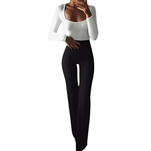 SuperSU Frauen Fashion Solid Elastizität Leggings Schlaghosen Damen Lange Stretch Hose im Marlene-Stil Sexy Kick Flare Bootcut Hosen Mode Casual Schmeichelhaft Ausgestellte Jeans - Flare Leg Hose