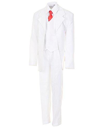 Festlicher 5tlg. Jungen Anzug in Vielen Farben mit Hose, Hemd, Weste, Krawatte und Jacke M313ws Weiß Gr. 12/140/146