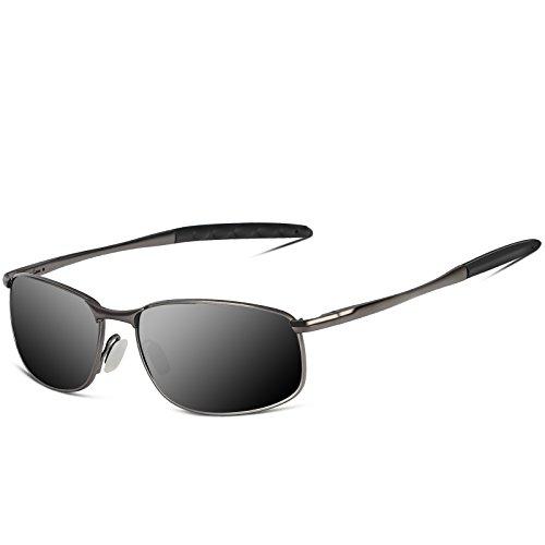 SUNMEET Sonnenbrille Herren polarisierten Sonnenbrille für Männer Sportbrillen Golf Angeln Stilvolle HD Objektiv Metallrahmen Herren Sonnenbrille S1002(Schwarz/Gun)