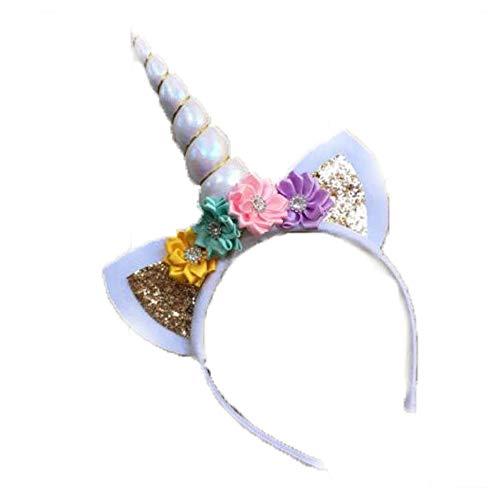 (Einhorn Stirnband Geburtstag Rose Blume Stirnband Einhorn Party Halloween Weihnachten Tier Ohren Weiß)
