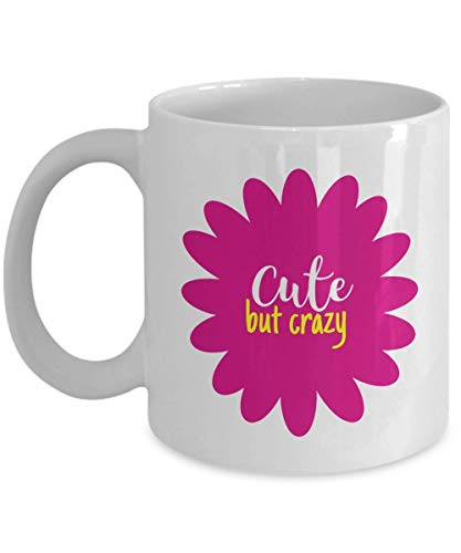 Pink Flower Coffee & Tea Gift Mug Cup for Funny Insane Mom, Aunt, Wife, Teen Girl Friend, Bestie & Other Women Cuties ()