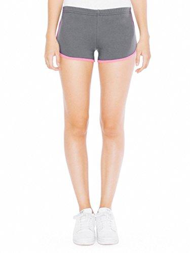 American Apparel Interlock Running Short - Asphalt / Fuchsia / L (American Apparel Running Shorts)