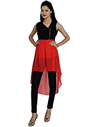 FRANCLO women,s high low Georgette dress (30-32)